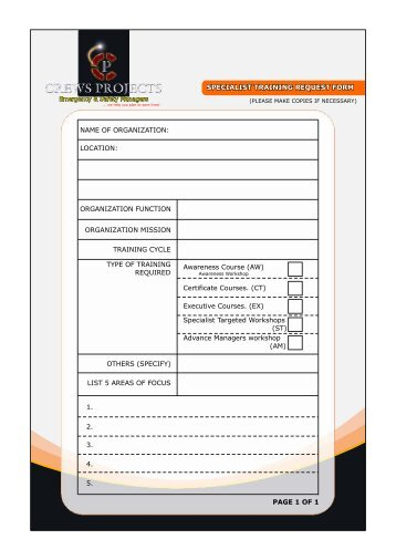 Work Request Form  Allens Training