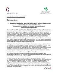 Communiqué - Ontario - Genome Canada