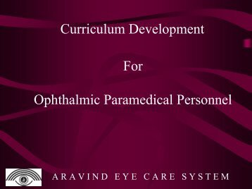 Curriculum Development For Ophthalmic Paramedical ... - LAICO