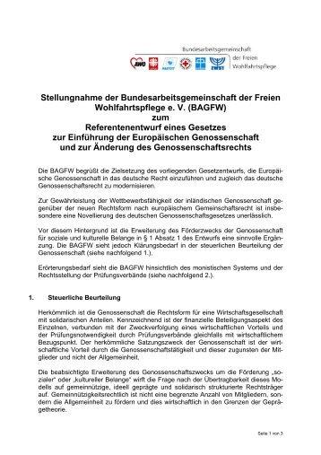 Stellungnahme zum Referentenentwurf eines Gesetzes zur ...