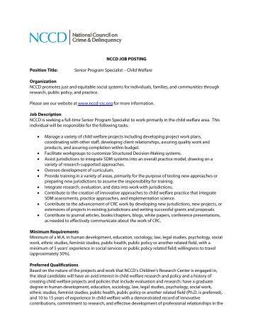 NCCD JOB POSTING Position Title: Senior Program Specialist ...