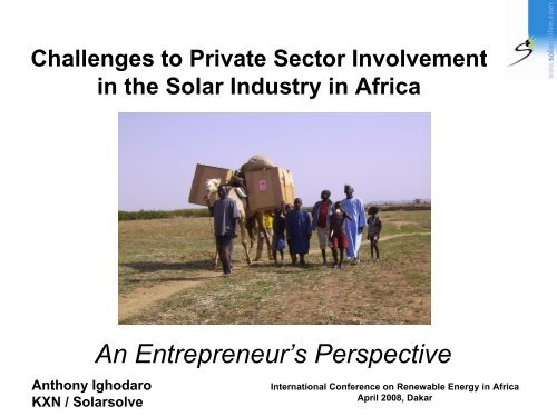 Challenges to Private Sector Involvement in the Solar ... - unido