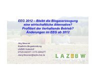 EEG 2012: Auswirkungen auf Biogasanlagen