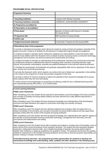 Quantity Surveying Studies - Liverpool John Moores University