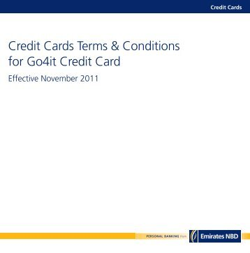 Terms & Conditions - Introducing the Emirates NBD Go4it Credit Card