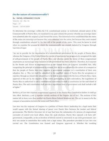 On the nature of commonwealth V - Rafaelhernandezcolon.org