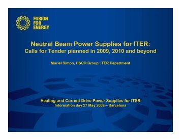 Neutral Beam Power Supplies for ITER: - Fusion For Energy - Europa