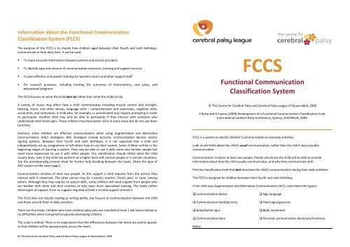 Functional Communication Classification System - Cerebral Palsy ...