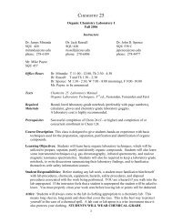 I CHEMISTRY 25 Organic Chemistry Laboratory I Fall 2006 ...