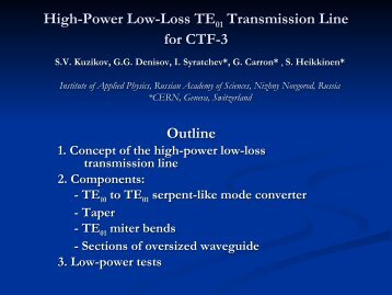 High-Power Low-Loss TE01 Transmission Line for CTF-3