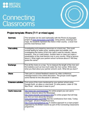 Rivers project template - British Council Schools Online