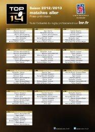 Calendrier TOP 14 2012-2013 - Othersideprod.net