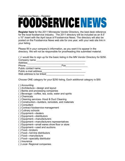Download the 2011 FSN MN Vendor Directory sign up form