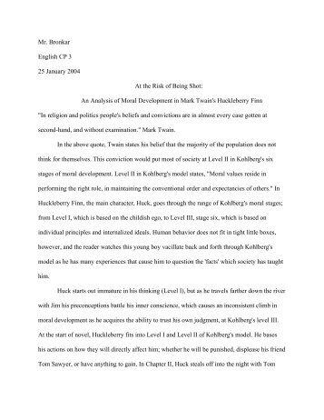 Huck Sample Kohlberg Essay - CIBACS