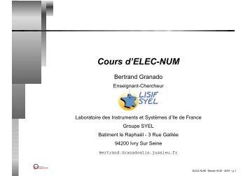 Cours d'ELEC-NUM