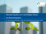 Aktuelle Aspekte zum nachhaltigen Bauen mit ... - Progress