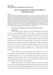 TEXT ACQUISITION IN THE ESP STUDIES AT TERTIARY LEVEL