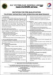 Invitation for Pre-Qualification - TOTAL Nigeria