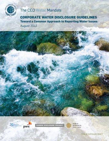 Corporate Water Disclosure Guidelines: Public Exposure Draft