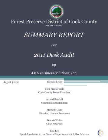 Desk Audit Executive Summary - Forest Preserve District of Cook ...