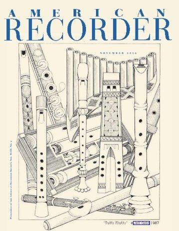 n o v e m b e r 2 0 0 2 - American Recorder Society