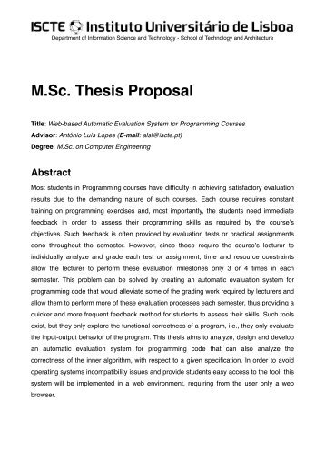 parts of a masters thesis proposal