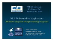 NLP for Biomedical Applications - Medical Ontology Research