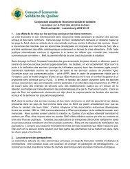 Conjoncture actuelle de l'économie sociale et solidaire Les ... - UQO