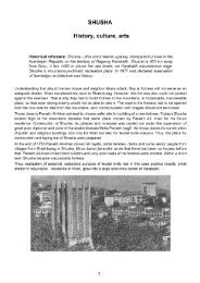 SHUSHA History, culture, arts - Erevangala500