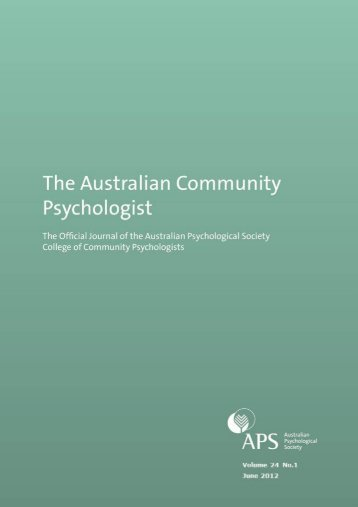 issue 1 12 - APS Member Groups - Australian Psychological Society