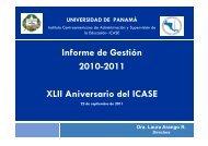 Informe de Gestión 2010-2011 XLII Aniversario del ICASE