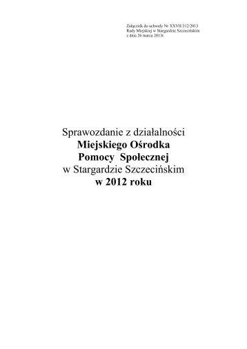 Sprawozdanie 2012 - Miejski Ośrodek Pomocy Społecznej
