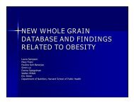 new whole grain database and findings related to obesity