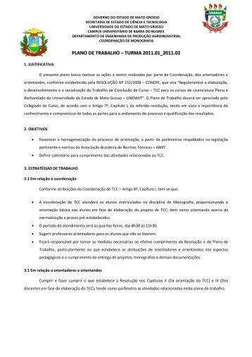 PLANO DE TRABALHO – TURMA 2011.01_2011.02 - UNEMAT