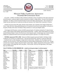 Missouri Valley Conference Announces Football All-Centennial Team
