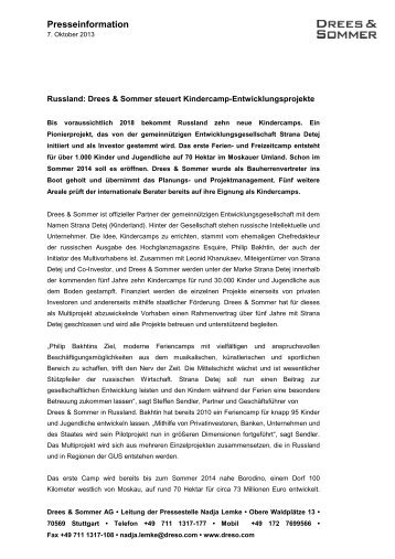Presseinformation Russland - Drees & Sommer