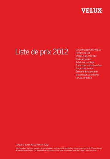 Liste de prix 2012 - Vitrotoit SA