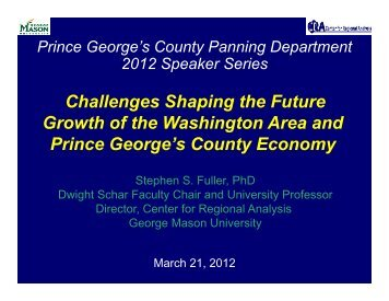 Challenges Shaping the Future Growth of the Washington Area and ...