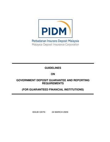 guidelines on government deposit guarantee and reporting ... - PIDM