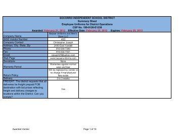 Employee Uniforms for District Operations.xlsm - My SISD - Socorro ...