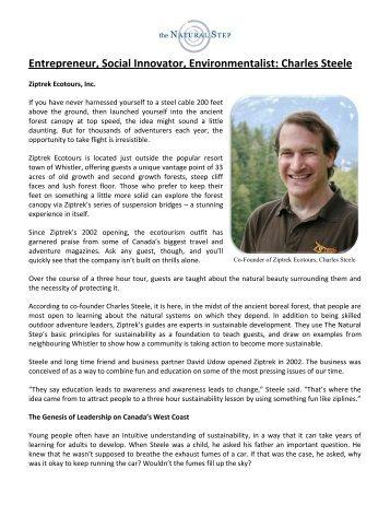 Entrepreneur, Social Innovator, Environmentalist ... - The Natural Step