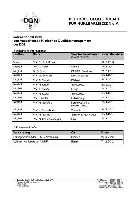 Bericht des Ausschusses Klinisches Qualitätsmanagement 2012