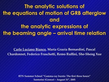The analytic solutions of the equations of motion of GRB afterglow ...