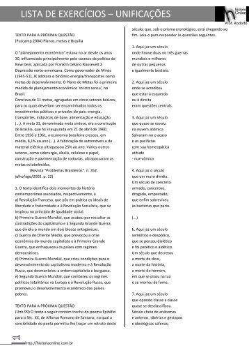 LISTA DE EXERCÍCIOS – UNIFICAÇÕES