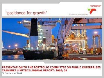 Transnet Portfolio Committee Briefing 08 Sept 2009 Final
