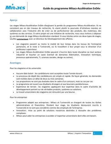 Guide du programme Mitacs-Accélération EnDév