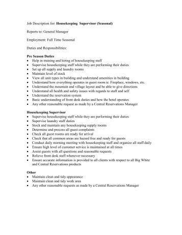 job description for housekeeping supervisor seasonal owh housekeeping job duties