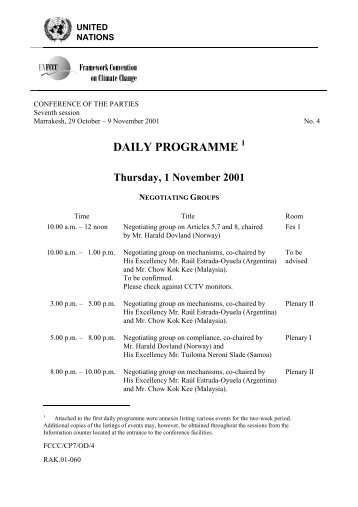 daily programme - United Nations Framework Convention on ...
