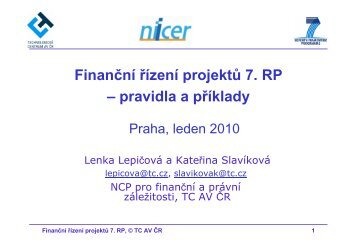 Finanční řízení projektů 7. RP - Technologické centrum AV ČR
