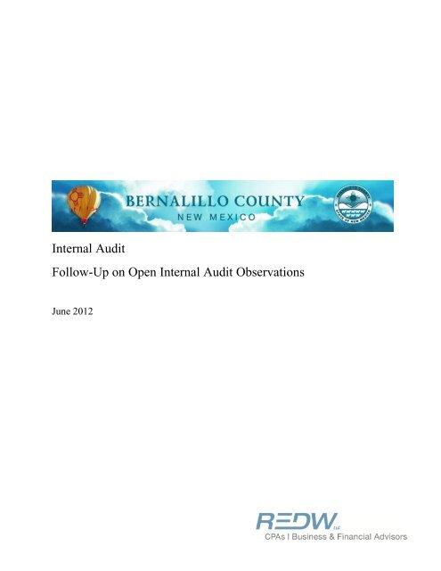 Fixed Assets Internal Audit Report - Bernalillo County